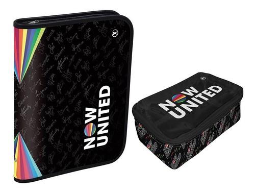 Fichário Now United preto Universitário 48 folhas com zíper DAC 3220 + Estojo Grande Box preto DAC 3218