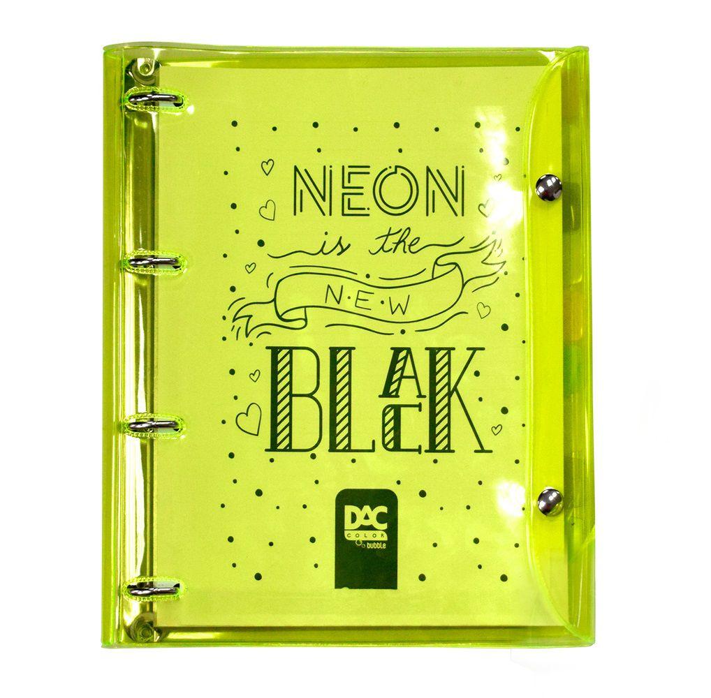 Fichário Universitário DAC 2396 Color Bubble Neon 192 folhas c/botão