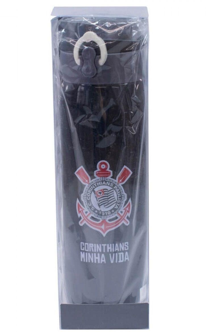 Garrafa Térmica Squeeze Corinthians 420ml QH043A-1 Inox Tampa com Trava