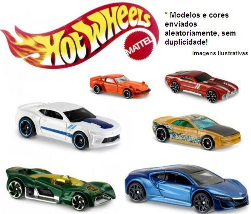 Hot Wheels kit com 6 carrinhos metal colecionáveis C4982