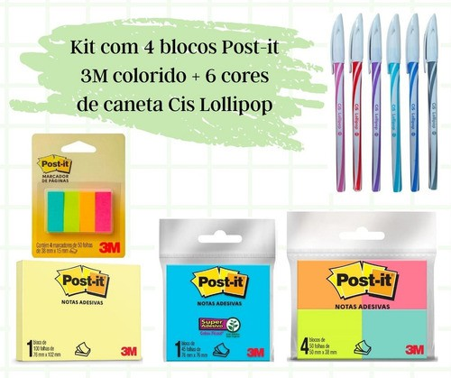 Kit 4 Blocos Post-it Adesivo 3M Coloridos + 6 Canetas Cis Lollipop Coloridas 0.5mm