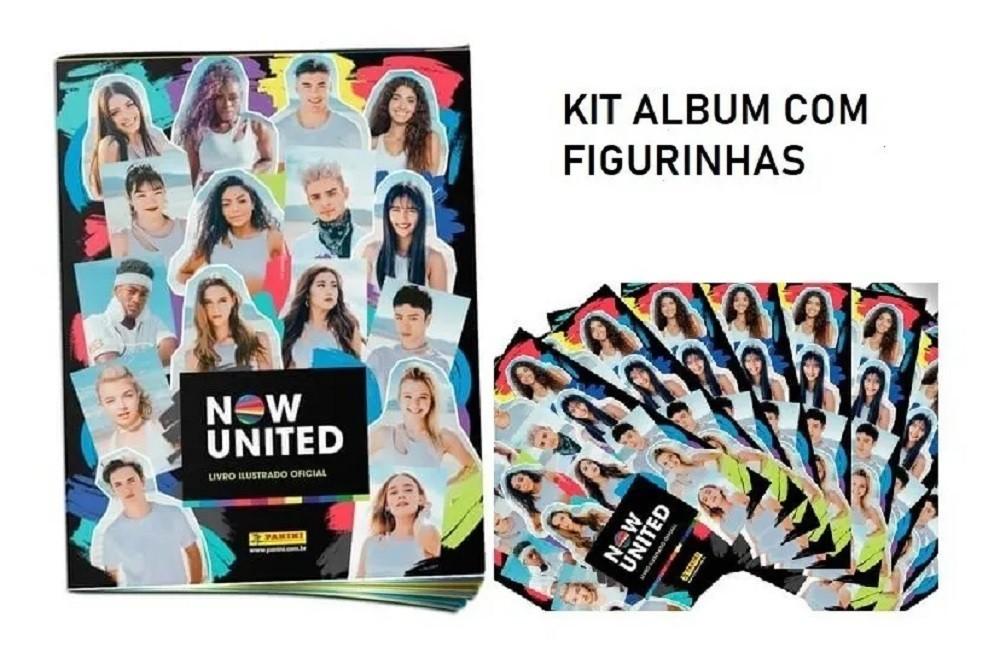 Kit Álbum Figurinhas Ilustrado Now United + 40 Figurinhas + 10 Cards