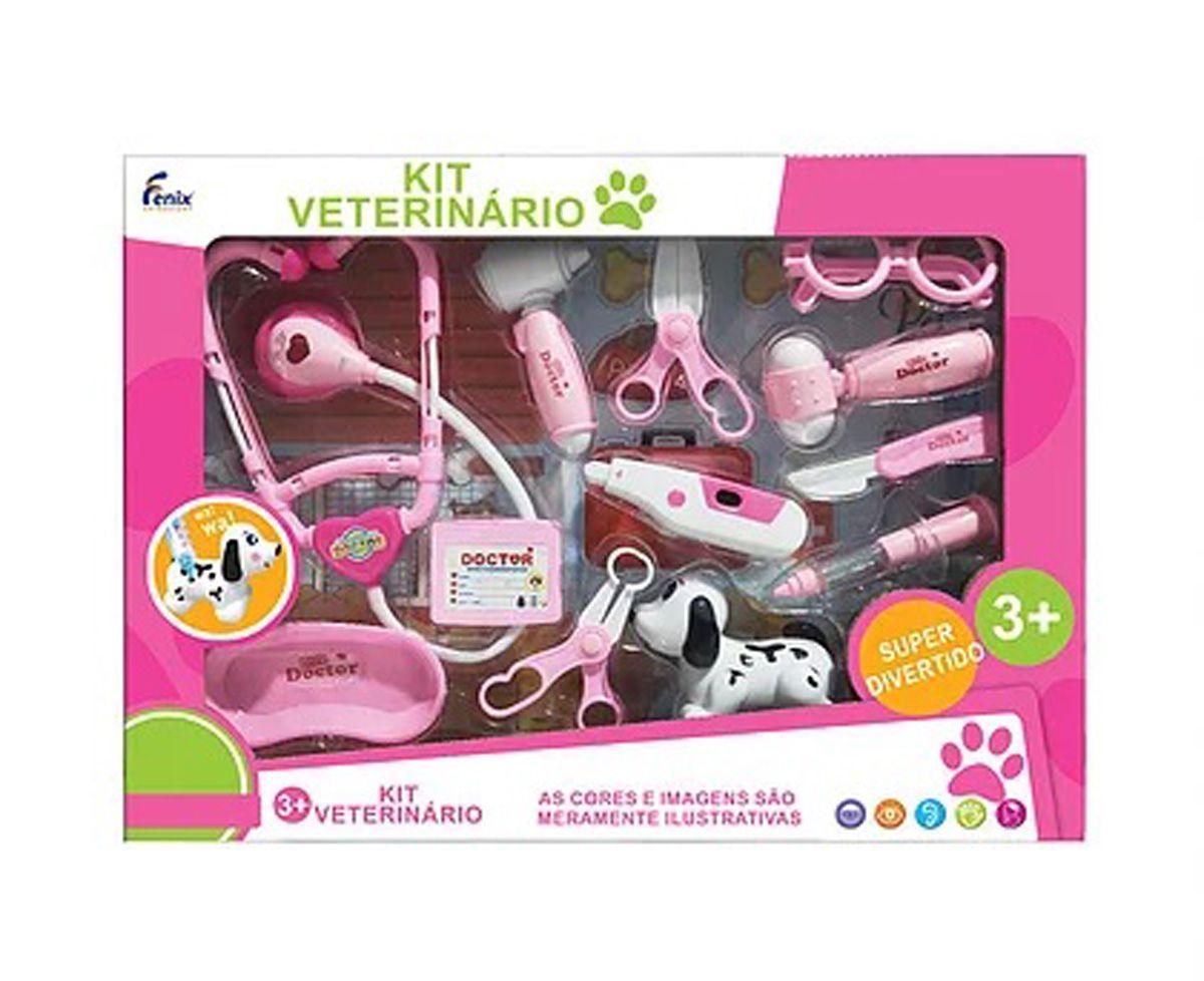 Kit Veterinário Infantil Grande 12 peças Fenix VTE-585 com Luz