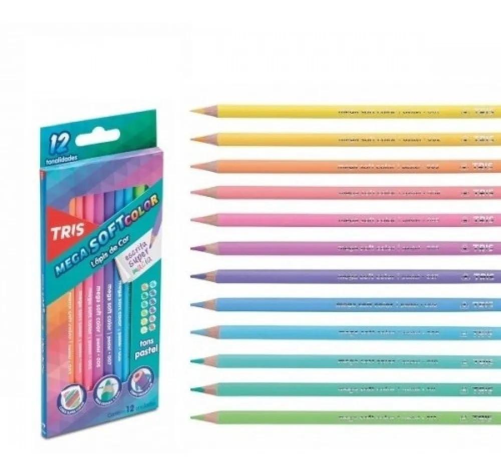 Lápis de Cor 102 cores Tris Mega Soft Color + Brinde (60 Mega Soft Color + 12 Tons de Pele  + 12 Tom Pastel + 12 Metálico + 6 Neon)