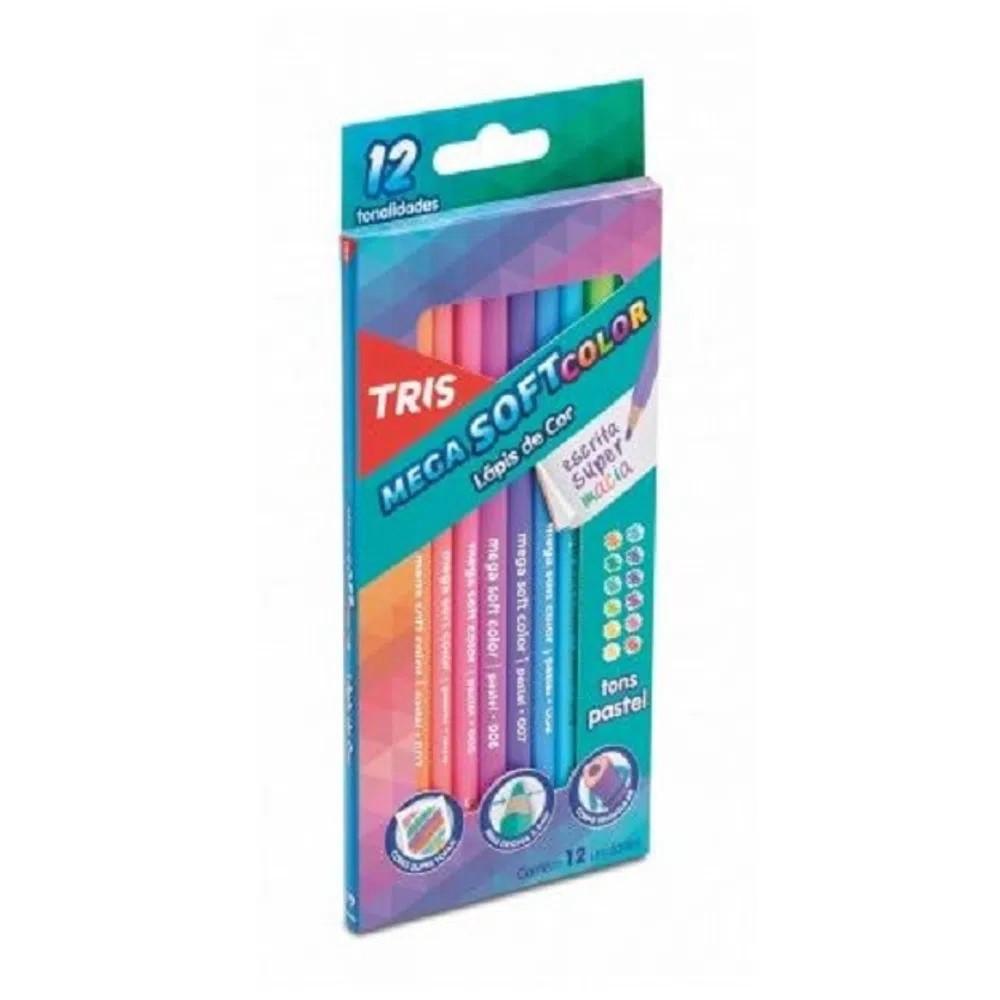 Lápis De Cor 48 Cores (24 Faber Castell + 12 Tons de Pele Tris + 12 Tons Pastel Tris)