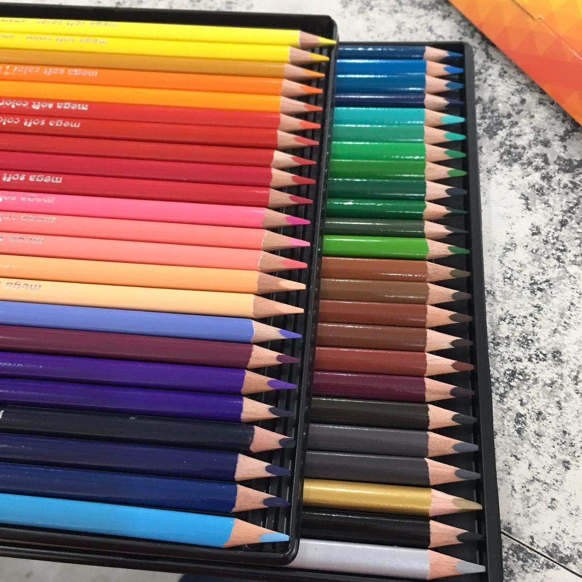Lápis de Cor 90 cores Tris Mega Soft Color + Brinde (48 Mega Soft Color + 12 Tons de Pele  + 12 Tom Pastel + 12 Metálico + 6 Neon)