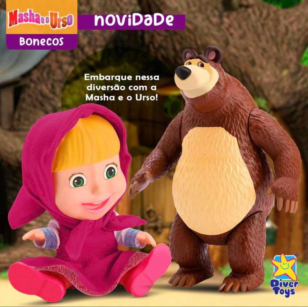 Masha e o Urso Bonecos em Vinil Licenciado Divertoys 8117