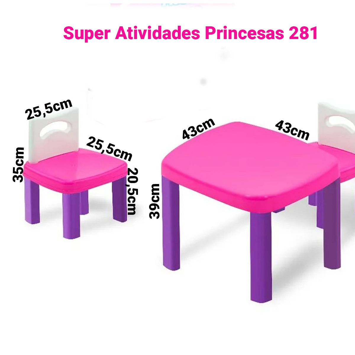 Mesinha Infantil Princesa com 2 cadeiras Plástica Super Atividades Simotoys 281