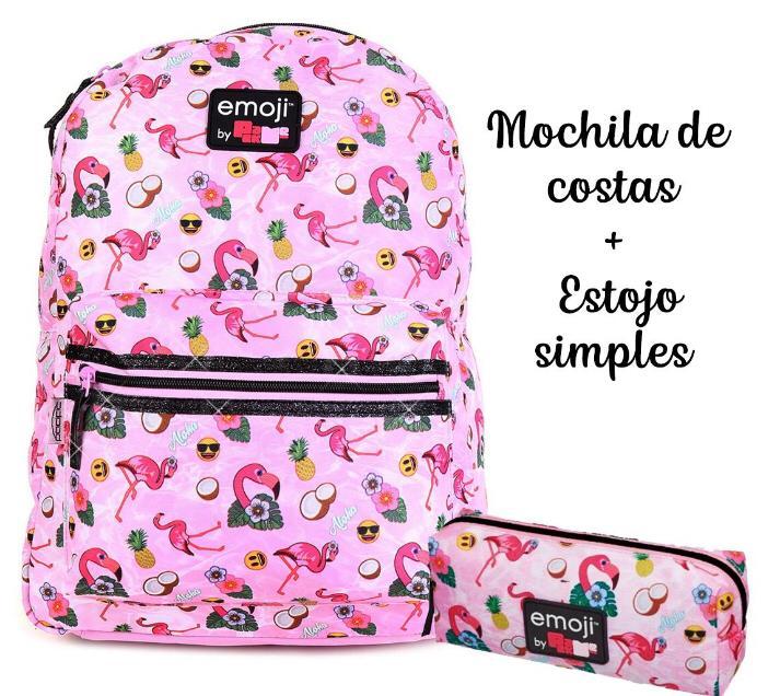Mochila Flamingo Emoji Costa G + Estojo simples