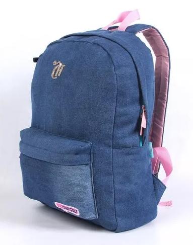 Mochila Capricho Patches Jeans Grande Dmw 11360