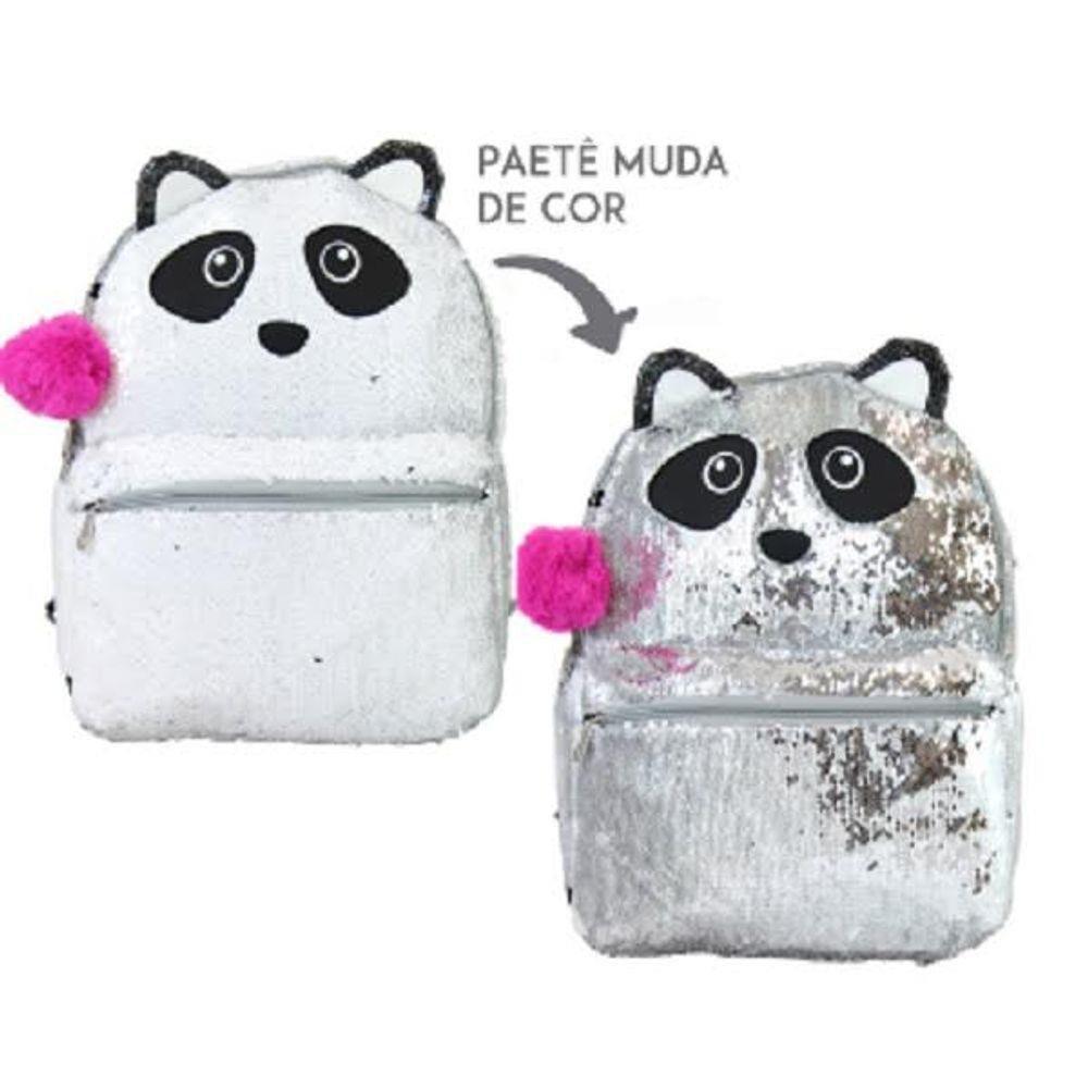 Mochila Panda Paetê Magica Muda De Cor Clio CG2032 Costas