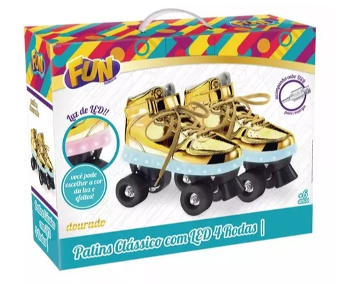 Patins Com Led 4 Rodas Dourado Fun