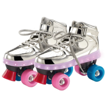 Patins Com Led 4 Rodas Prata Fun