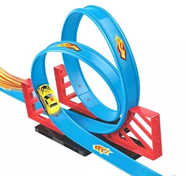 Pista Duplo Looping 2,45m Com Carro A Fricção Braskit 030-0