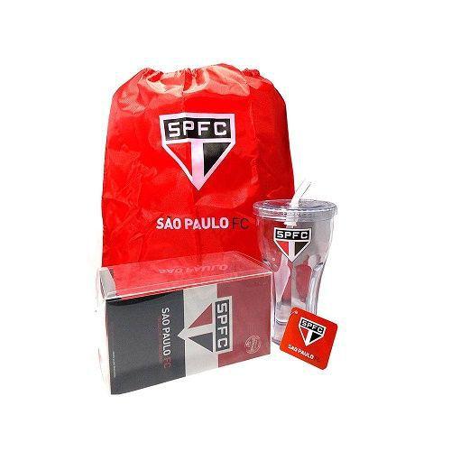 São Paulo Combo Tricolor 3 pç Copo 550ml + Sacolinha + Toalha Mão