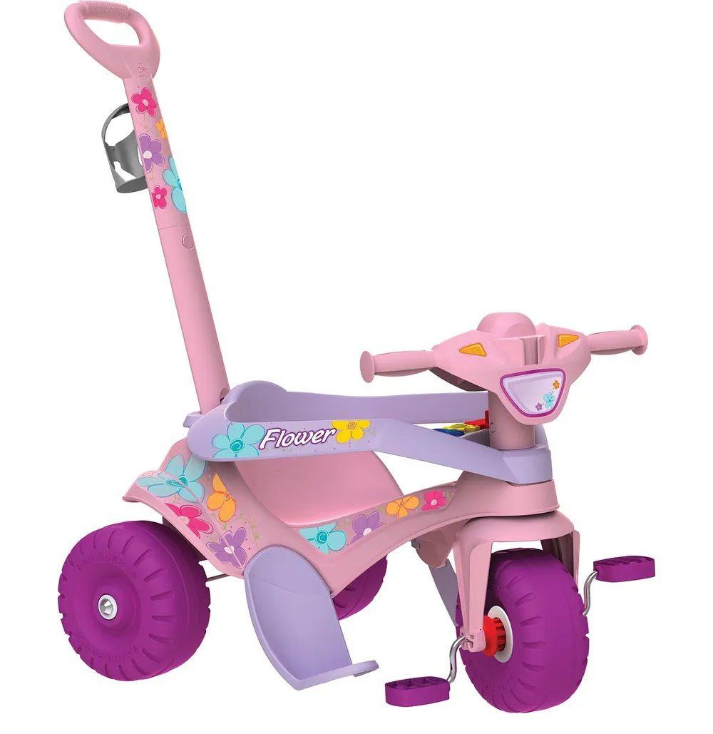Triciclo Bandeirante Motoka 842 rosa passeio e pedal