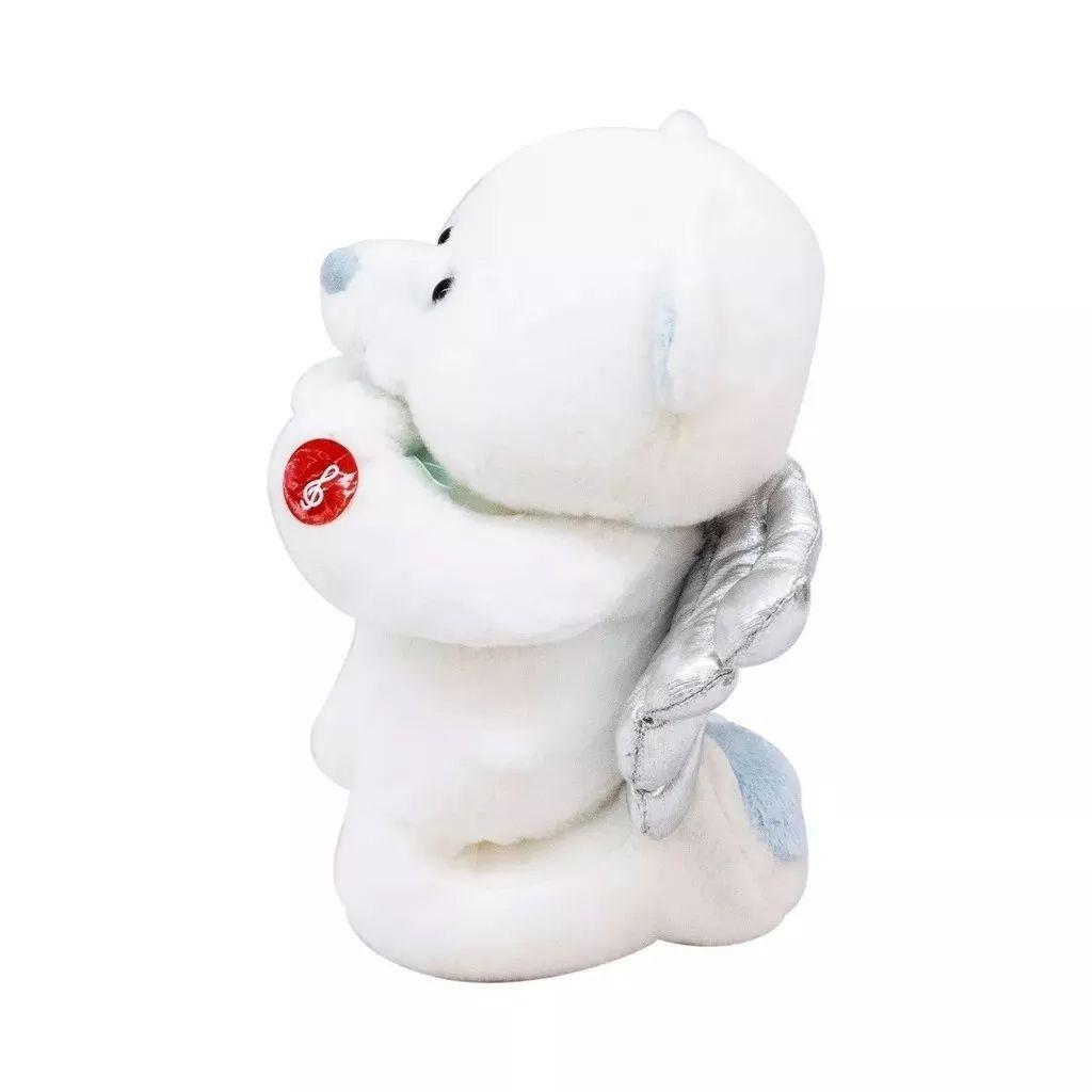 Urso Pelúcia Reza Pai Nosso 23cm branco com Asas Prateadas Fofy Toys