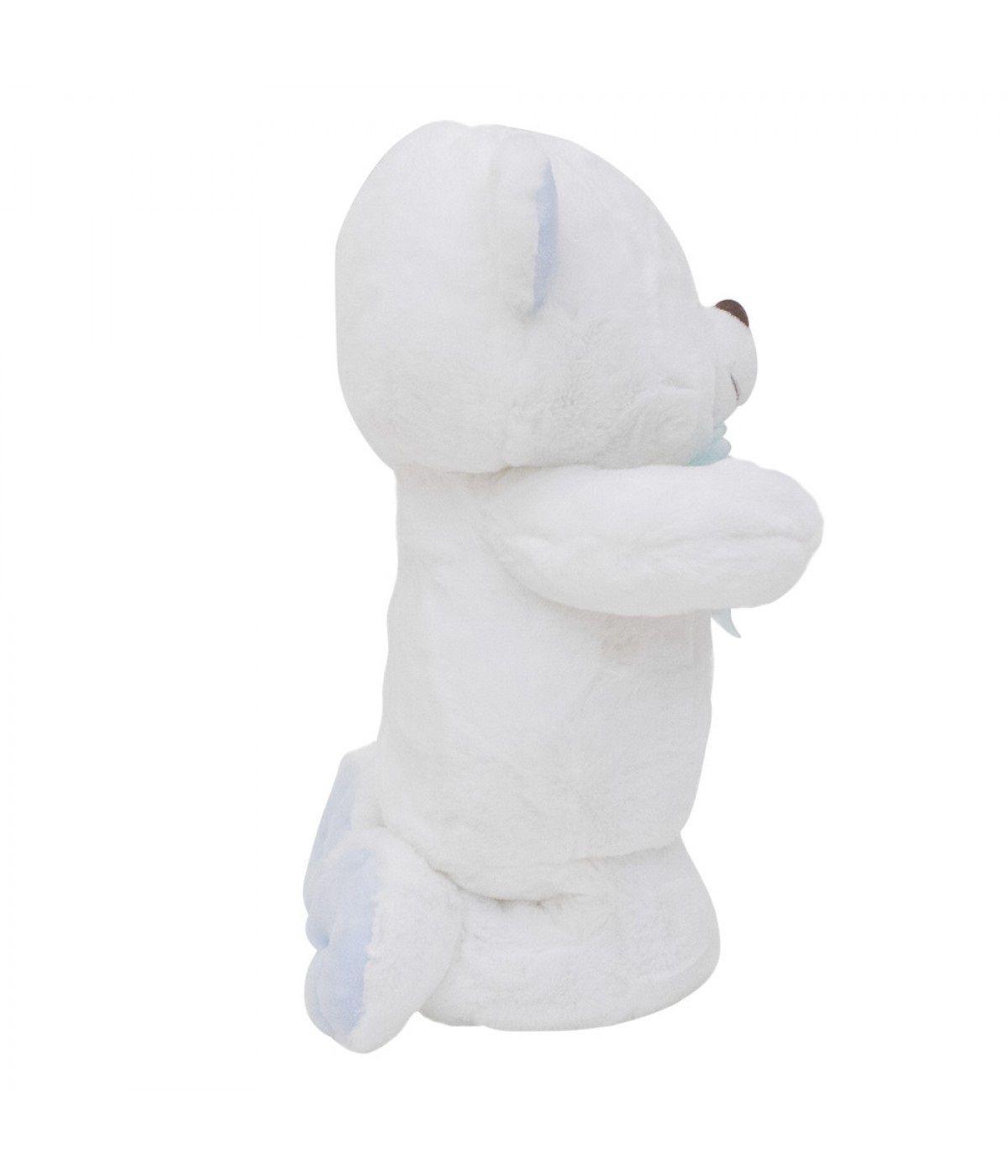 Urso Pelúcia Reza Pai Nosso 28cm Ajoelhado BBL1496 Laço Azul