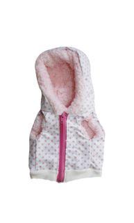 Colete Luxo Courino Fêmea Branca de Bolinha Rosa Roupinha Roupa Tam P