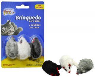 Pack com 3 ratinhos com catnip Brinquedo para Gatos
