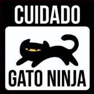 Placa de decoração Pet - Cuidado gato ninja