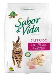 Ração Seca Sabor & Vida Gatos Castrados Sabor Peru, Trigo e Cevada 10,1kg