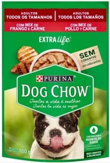 Ração Úmida Sachê DogChow Purina Mix Frango e Carne Adultos Extra Life