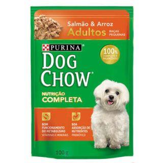 Ração Úmida Sachê DogChow Purina Salmão e Arroz Adultos Raças Pequenas