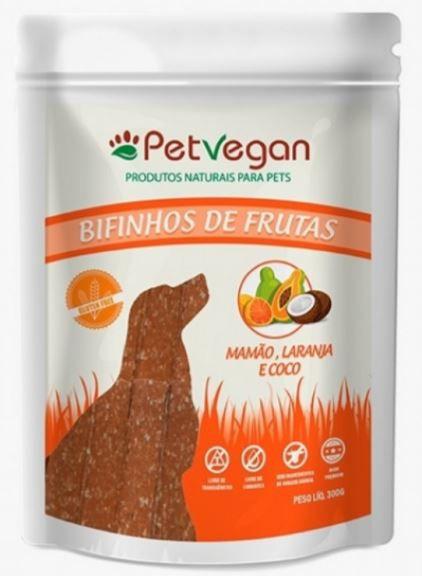 Bifinho Natural PetVegan de Frutas Mamão, Laranja e Coco 300g