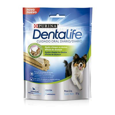 Dental Life Purina Petisco Snack para Cães Adulto Porte Médio