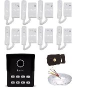 Kit Porteiro 8 Pontos Completo+interfones+fechadura E Cabo