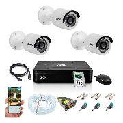 Kit Cftv 3 Câmeras GS0018 Hd 720p Ipp66 Visão Noturna 20mts Hd 1tb Seagate