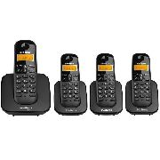 Kit Telefone Intelbras S/fio Ts 3110 Preto + 3 Ramal Ts 3111