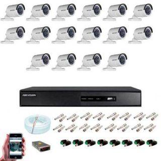 KIT CFTV 16 Câmeras Bullet HD 720P Hikvision IR 20 Metros
