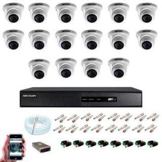 KIT CFTV 16 Câmeras Dome HD 720P Hikvision IR 20 Metros