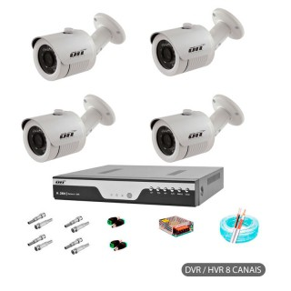 Kit CFTV AHD 4 CAMERAS BULLET ON ELECTRONICS