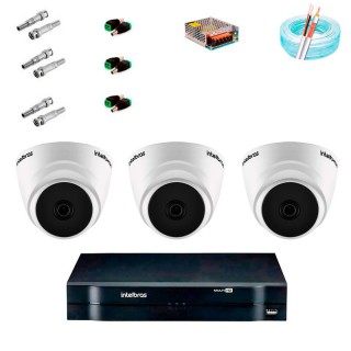 KIT CFTV Intelbras 3 Câmeras VMH 1010 Dome G5 HD 720P