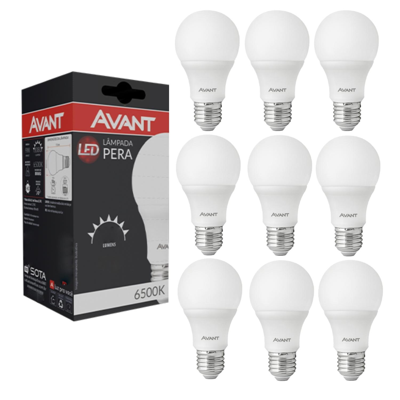 10 Lâmpadas Led Pera 9W 6500K Soquete E27 Branco Frio Bilvolt
