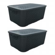 2 Caixas Organizadoras Plástica Plasnew Rattan Nº 3 17L 38x28x19cm - 2061