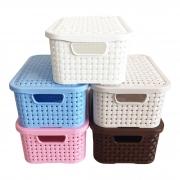 3 Caixas Organizadoras Plástica Rattan Nitron Tampa Cesto PP