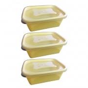 3 X Pote Organizador Retangular Versátil  750ml Nude Amarelo