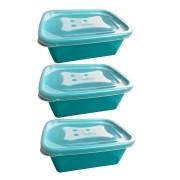 3 X Pote Organizador Retangular Versátil 750ml Nude Azul