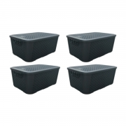 4 Caixas Organizadoras Plástica Plasnew Rattan Nº 2 8,8L 32x23x15cm - 2051