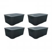 4 Caixas Organizadoras Plástica Plasnew Rattan Nº 3 17L 38x28x19cm - 2061