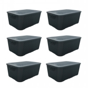 6 Caixas Organizadoras Plástica Plasnew Rattan Nº 2 8,8L 32x23x15cm - 2051