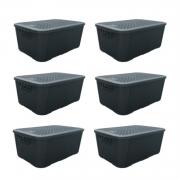 6 Caixas Organizadoras Plástica Plasnew Rattan Nº 3 17L 38x28x19cm - 2061