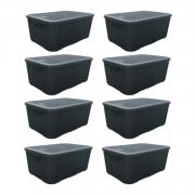 8 Caixas Organizadoras Plástica Plasnew Rattan Nº 2 8,8L 32x23x15cm - 2051
