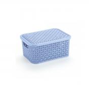 Caixa Organizadora Plástica Rattan Nitron Tampa Cesto Azul P