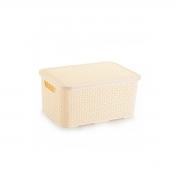 Caixa Organizadora Plástica Rattan Nitron Tampa Cesto Creme P