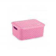 Caixa Organizadora Plástica Rattan Nitron Tampa Cesto Rosa P